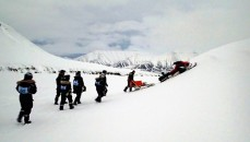The instructors deliberately get the scooter with the trailer stuck so we can learn to dig it out. Look at the scenery! Photo by Jan Chylik